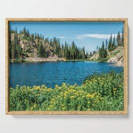 Yellow Flower Lake // Beautiful Daylight Evergreen Mountain Landscape Photograph Serving Tray