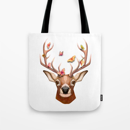Stag and the Butterflies  Tote Bag