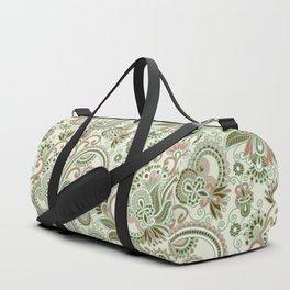 Oriental Persian Paisley, Swirls - Green Pink Duffle Bag