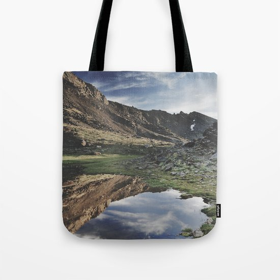 Dream Lake at the mountains. Retro Tote Bag
