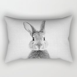 Rabbit - Black & White Rectangular Pillow