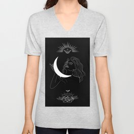 Modern minimalist female line drawing, woman holding crescent, mythology and mystical illustration Unisex V-Neck