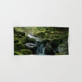 Flowing Creek, Green Mossy Rocks, Forest Nature Photography Hand & Bath Towel