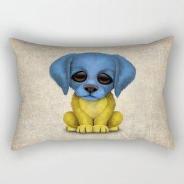 Cute Puppy Dog with flag of Ukraine Rectangular Pillow