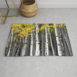 Yellow, Black, and White // Aspen Trees in Crested Butte Rug