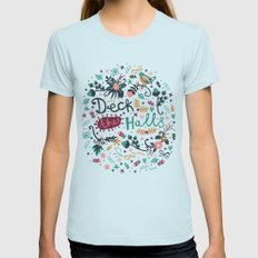 Deck the Halls Womens Fitted Tee Light Blue X-LARGE