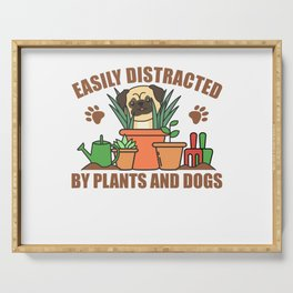 Plants And Dogs Funny Pug In The Garden Flower Serving Tray