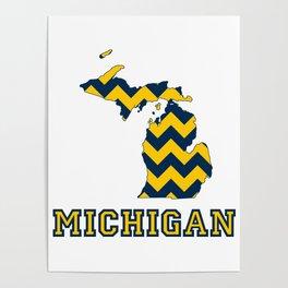 Collegiate Michigan Maize and Blue Chevron Pattern Poster