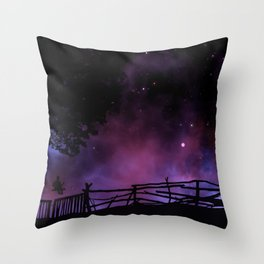 Magnificent Fairytale Boy On Seesaw Silhouette Purple Night Sky Throw Pillow