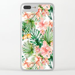 Tropical Jungle Hibiscus Flowers - Floral Clear iPhone Case