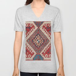 White Hooked Diamond // 19th Century Authentic Simple Colorful Aztec Accent Pattern Unisex V-Neck