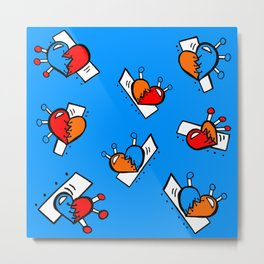 Hearts with Stitches - Blue Red Orange - Bright Blue Metal Print