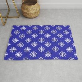 Snowflakes (White & Navy Blue Pattern) Rug