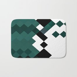Emerald Green White Black Geometrical Pattern Badematte