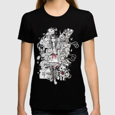 wonderland shattered Black Womens Fitted Tee LARGE