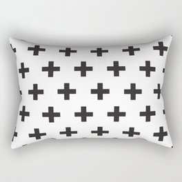 Swiss Cross x Black on White Rectangular Pillow