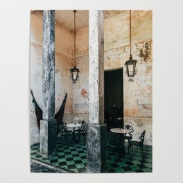 Coffee and frescoes in ex-hacienda in Mexico Poster