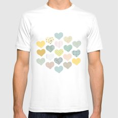 hearts pattern Mens Fitted Tee White MEDIUM