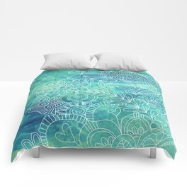 Green Abstract with Doodles Comforters