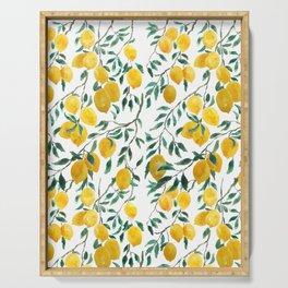 watercoor yellow lemon pattern Serving Tray