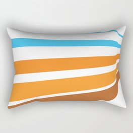 BLUE, ORANGE  AND BROWN LINES  ON A WHITE BACKGROUND Abstract Art Rectangular Pillow