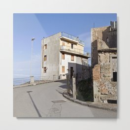 Mountain Village at the Sea of Forza d'Agro in Sicily Metal Print