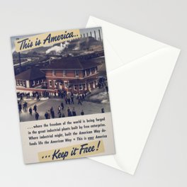Vintage American World War 2 Poster - This is America: The Freedom of the World (1943) Stationery Cards