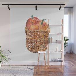 Autumn Basket of Pumpkins Wall Mural