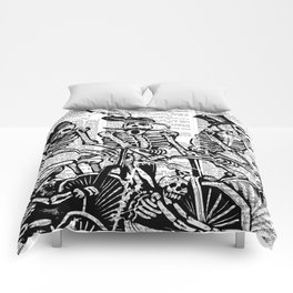 Calavera Cyclists   Black and White Comforters