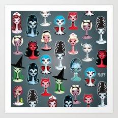 Spooky Dolls Pattern Art Print