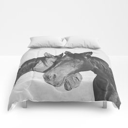 Horse Hug in Black and White Comforters
