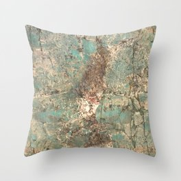Turquoise and Fawn Brown Marble Throw Pillow