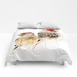 Red Headed Finches Comforters