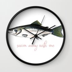 Swim Away With Me Wall Clock