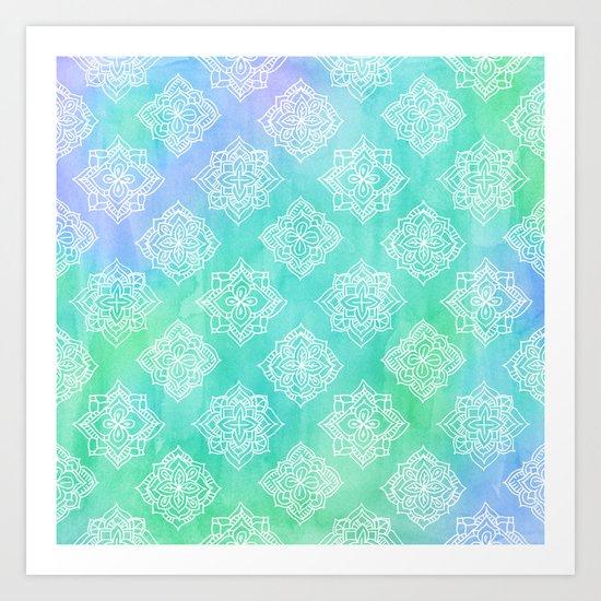 Soft Doodle Pattern in White, Purple, Mint & Aqua Art Print