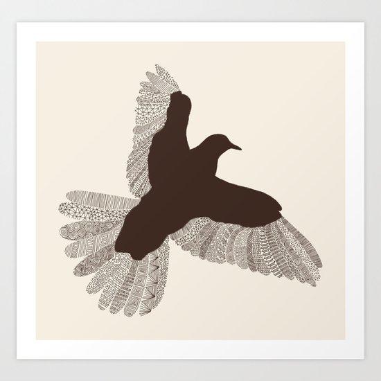 Bird (On Beige) Art Print