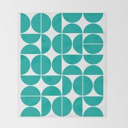 Mid Century Modern Geometric 04 Turquoise Throw Blanket