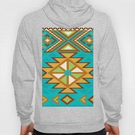 Native Aztec Tribal Turquoise Rug Pattern Hoody