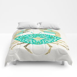 Crab – Turquoise & Gold Comforters