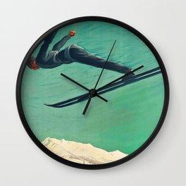 The Jump,Vintage Ski Travel Poster Wall Clock