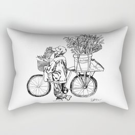 Bicycle Flower Seller in Hanoi in Pencil Rectangular Pillow