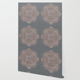 Mandala Rose Gold Pink Shimmer on Soft Gray by Nature Magick Wallpaper