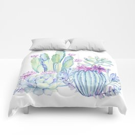 Mixed Cacti White #society6 #buyart Comforters