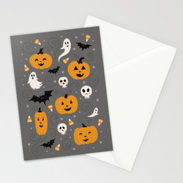 Pumpkin Party in Gray Stationery Cards
