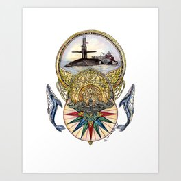 Whale of a Tale - Submarine with Silver Dolphins Art Print