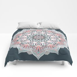 Expansion - boho mandala in soft salmon pink & blue Comforters