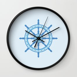 AFE Ship Wheel Light Blue, Nautical Art Print Wall Clock