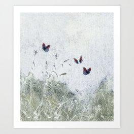 A Spell for Creation - butterflies amongst grass Art Print
