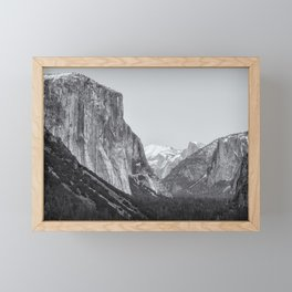 El Capitan, Half Dome and Sentinel Rock from Tunnel View bw Framed Mini Art Print