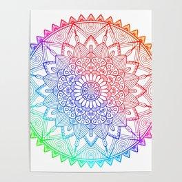 Rainbow Mandala Doodle Poster